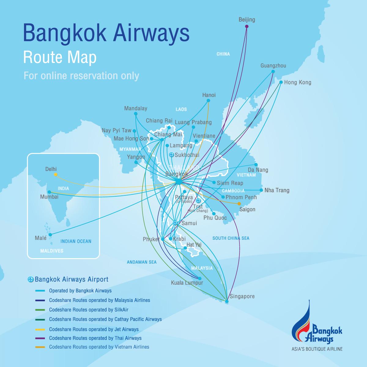 Route Map Bangkok Airways