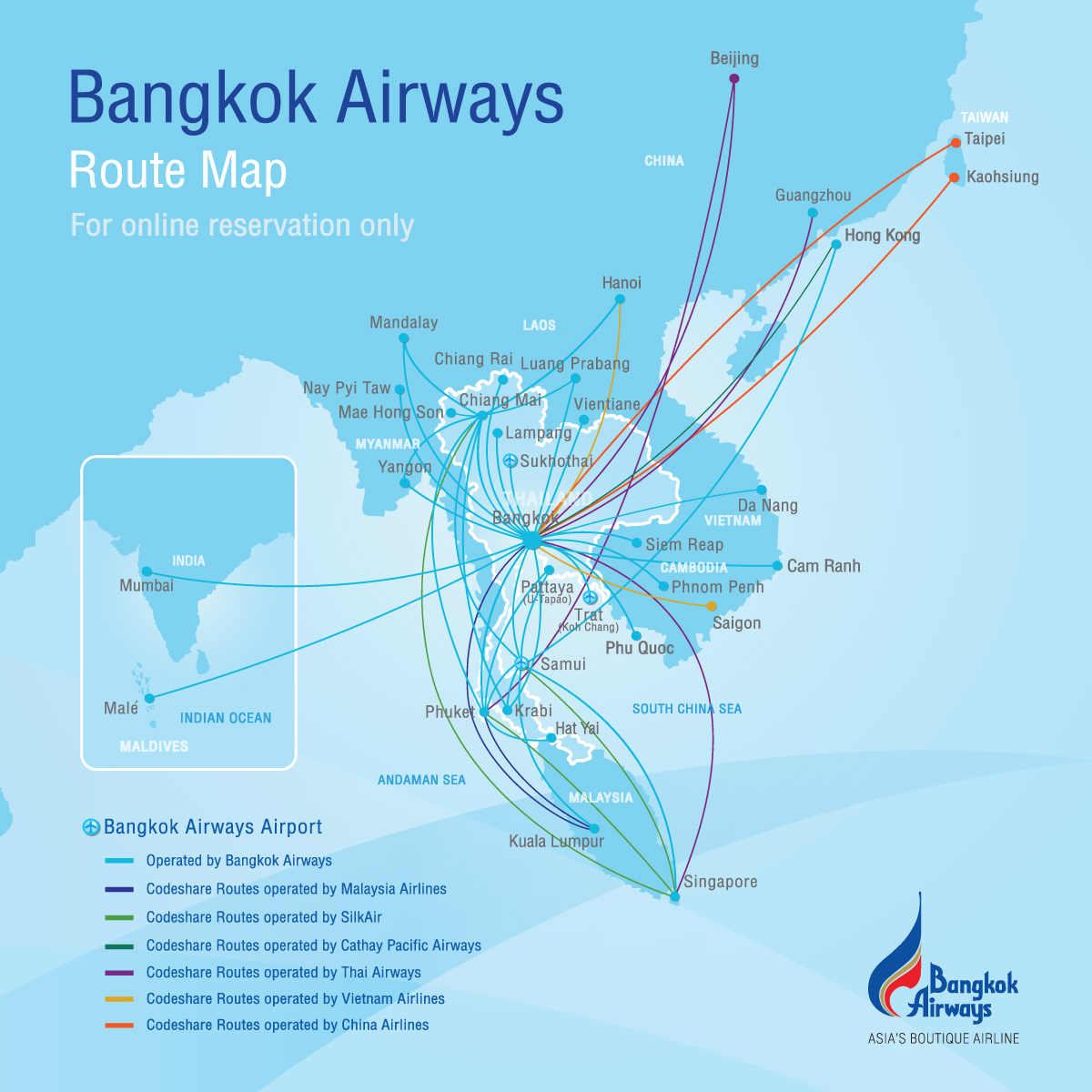Route Map Bangkok Airways